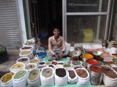 Un joven vendiendo especies