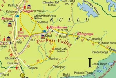 Mapa del Valle de Parvati